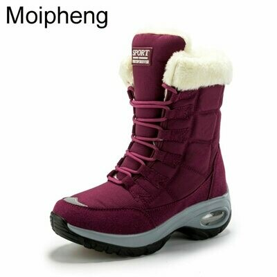 Women Boots Lace-Up Waterproof Femme Mid-Calf Winter Ladies Comfortable Moipheng No Chaussures