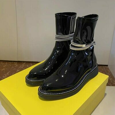 Motorcycle-Boots Chunky Martens Ladies Shoes Women Fashion for Autumn Size34-41 Lace-Up