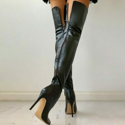 Female Shoes Knee-Boots Over High-Heels Black Sexy Plus-Size Women 43 Winter The