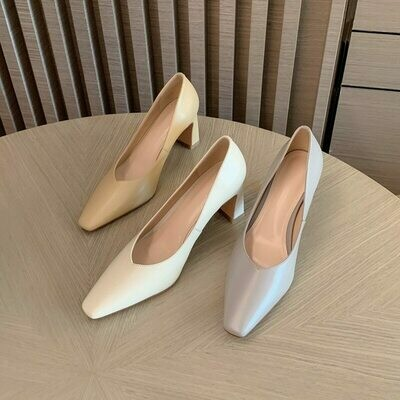 GUIDIBASICGenuine Leather Women Heels Small Square Head Pumps Shoes Fashion Women's Shoes Go With The Dress D10-Qipa-F37