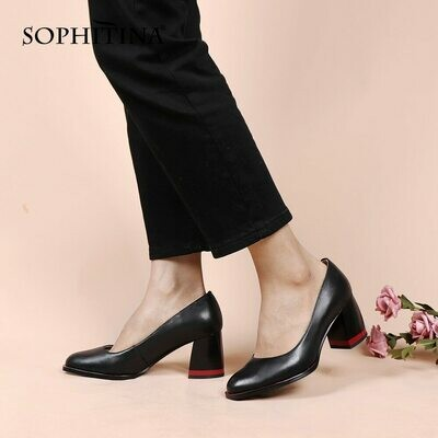 SOPHITINA Mature Style Concise Spring Autumn Pumps Woman Cow Leather Shallow Round Toe High Sqaure Heel Dress Shoes PC965