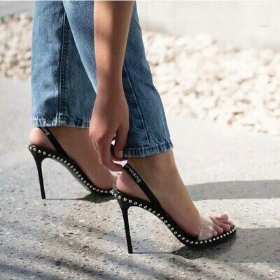 Sandals Pumps Heels-Cover Catwalks Metal Kitten-Heel Transparent Women Peep-Toe Summer