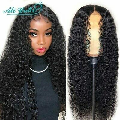 Frontal Wigs Human-Hair-Wigs Ali-Grace Kinky Curly Deep-Curly Pre-Plucked 360-Lace Brazilian