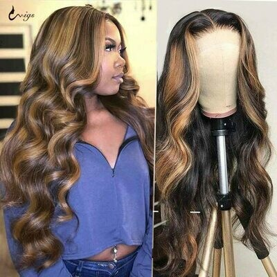 Human-Hair-Wigs Highlight Wig Honey-Blonde Lace-Front Body-Wave Remy Brazilian Ombre