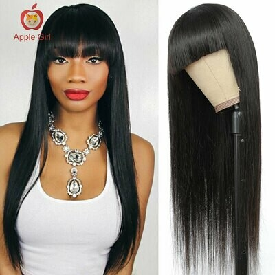 Applegirl Straight Human Hair Glueless Wig With Bangs Machine Made Brazilian Remy Hair Wigs With Front Bangs 10 to 30 Inch