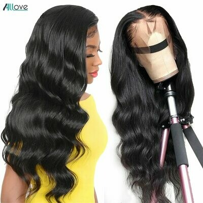Wig Human-Hair-Wigs Allove Body-Wave Pre-Plucked Brazilian