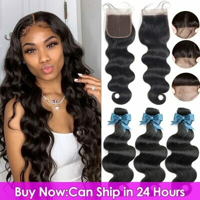 Body-Wave Closure Human-Hair-Bundles Lace Brazilian-Hair BEAUDIVA with Remy