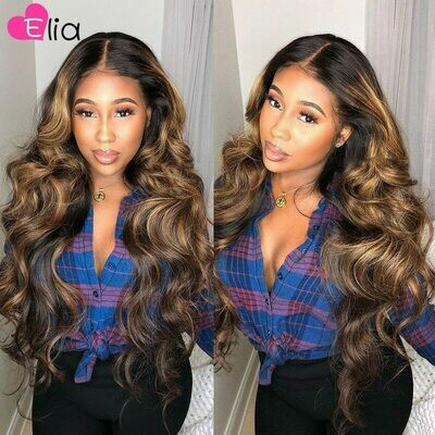 Wig Highlight Body-Wave Lace-Front Pre-Plucked Hd Transparent Black-Women 100%Human-Hair