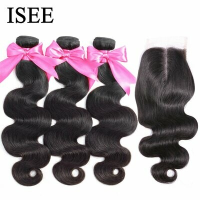Human-Hair-Bundles Closure Frontal Body-Wave ISEE Brazilian