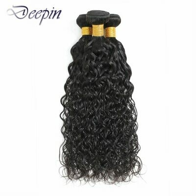 Deepin Water Wave Human Hair Bundles For Women Peruvian Hair Bundles Non-Remy Hair Weave Bundles Natural Color Hair Extensions