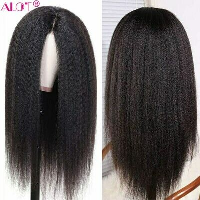 Lace-Wig Wigs Human-Hair Pre-Plucked Remy Kinky Straight Brazilian with Baby Glueless
