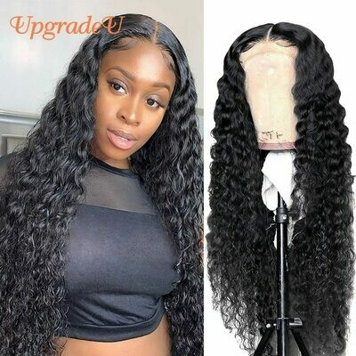 UpgradeU Water Wave Lace Front Wigs Human Hair Closure Wig Pre Plucked 150% Density Brazilian Wet and Wavy Human Hair Wigs