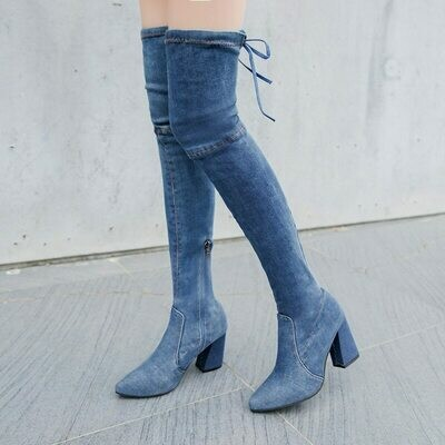 thigh high boots Female Stretch denim over the knee boots woman Slim Thighs High Heels Women shoes Cowboy Shoes Botas Mujer