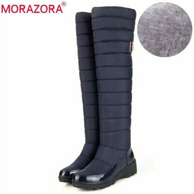 MORAZORA New 2021 keep warm snow boots women fashion platform fur thigh high over the knee boots plush ladies warm winter boots