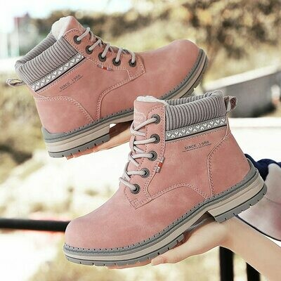 BIMUDUIYU Winter Shoes Woman Warm Snow Boots Women Leather Ladies Ankle Boots Outdoor Thick Bottom Tooling Boots Pink Booties