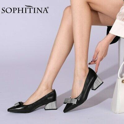 SOPHITINA Women's Pumps Elegant Pointed toe Mid Square Heel Genuine Leather Handmade Comfort Work Office Ladies Shoes PC957
