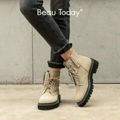 BeauToday Fashion Ankle Boots Women Cow Suede Lace-Up Zip Platform Genuine Leather Ladies Winter Boots Handmade 03443