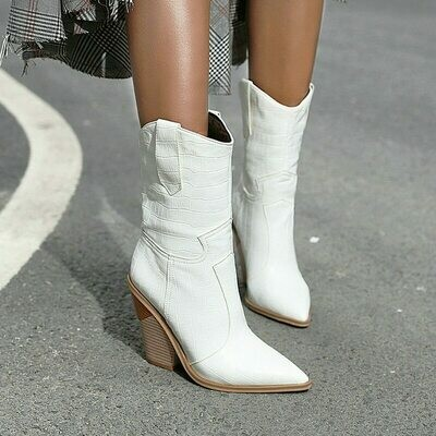 2020 Autumn Women Boots Pu Leather Wedge High Heel Ankle Boots Pointed Toe Winter Cowboy Boots Fashion Western Boots Black White