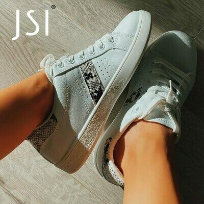 Flats Sneaker White Shoes Snake-Pattern Round-Toe Comfortable Leisure Fashion-Design