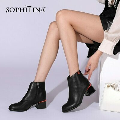 SOPHITINA Ankle Boots 2021 New The Color Heel Genuine Leather Zipper High Quality Mid Heel Comfort Spring Women Shoes PC964