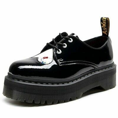 Black Shoes Loafers Ankle-Boots Platform Women Footwear Autumn Genuine-Leather Cartoon