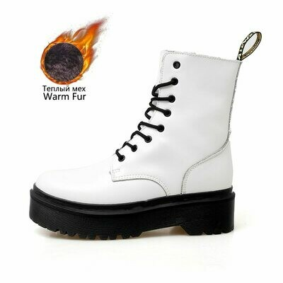 Women Boots Ankle-Shoes Doc Chunky Martins Motorcycle High-Platform Ladies 8-Eye