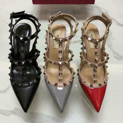 Pointed-Sandals Wedding-Shoes Rivets Dust-Bag High-Heel Designer Genuine-Leather Summer