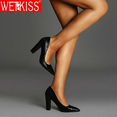 WETKISS Block High Heels Shoes Woman Pumps Fish Scale Skin Ladies Pumps Pointed Toe Wedding Dress Shoes Party Big Size 46