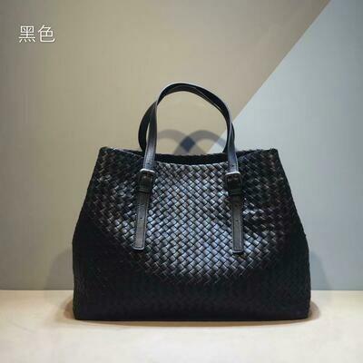 Woven-Bag Genuine-Leather Shopping-Handbag Shoulder-Straps External Woman Sheepskin Adjustable