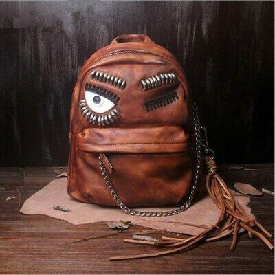 Women Backpack Shoulder-Bags Female Schooolbag Decoration Tassel Handmade Cowhide Retro