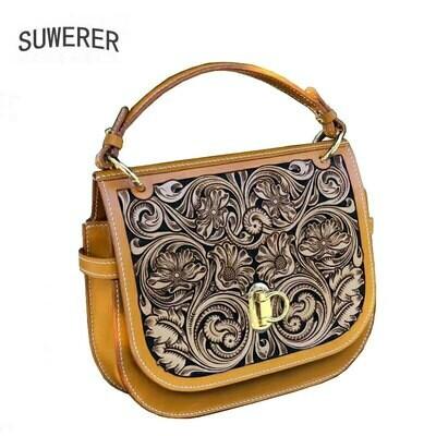 Female Bag Luxury Handbags Designer Genuine-Leather SUWERER Handmade Quality Women Famous-Brand