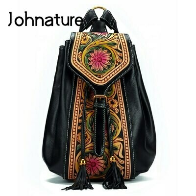 Women Backpack Retro Handmade Johnature Genuine-Leather National Cowhide-Bag First-Layer