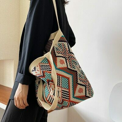 Tote-Bag Crochet Daily-Handbag Aztec Open-Shopper Gypsy Knitting Boho Chic Woolen Female