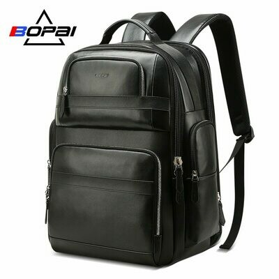 Backpack Business BOPAI Women Luxury Travel for Black Top-Layer Laptop