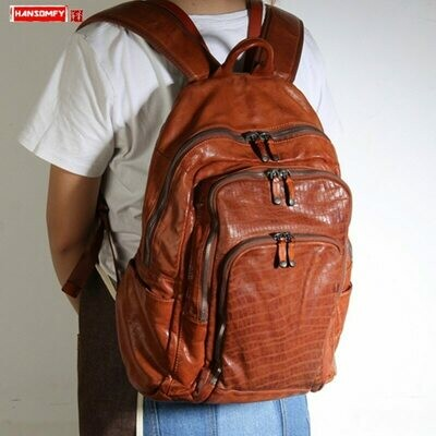 Travel Backpacks Computer-Bags Large-Capacity Vintage Male Casual Men Soft Outdoor New