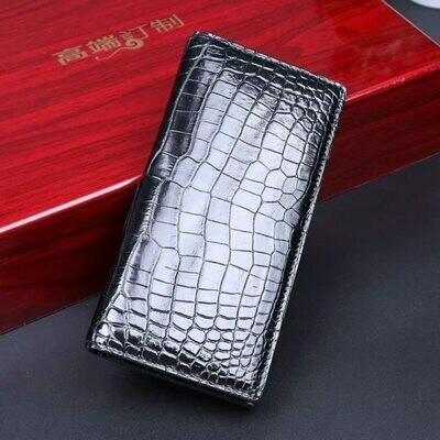 Wallet Men Purse Leather Aligator Bil-Fold Genuine Long Crocodile Belly SS