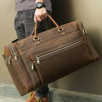 Travel-Bag Laptop Hand-Luggage Genuine-Leather Large Durable Big for 17inch Male Cowhide