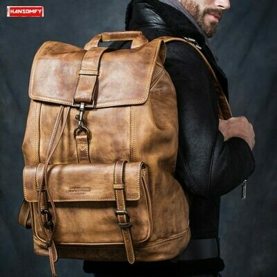 Laptop Backpacks Genuine-Leather Cowhide-Bags Travel-Shoulder-Bag Large-Capacity Men's