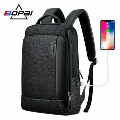 Bag Men Backpack Notebook Business BOPAI Real-Leather Travel Natural New