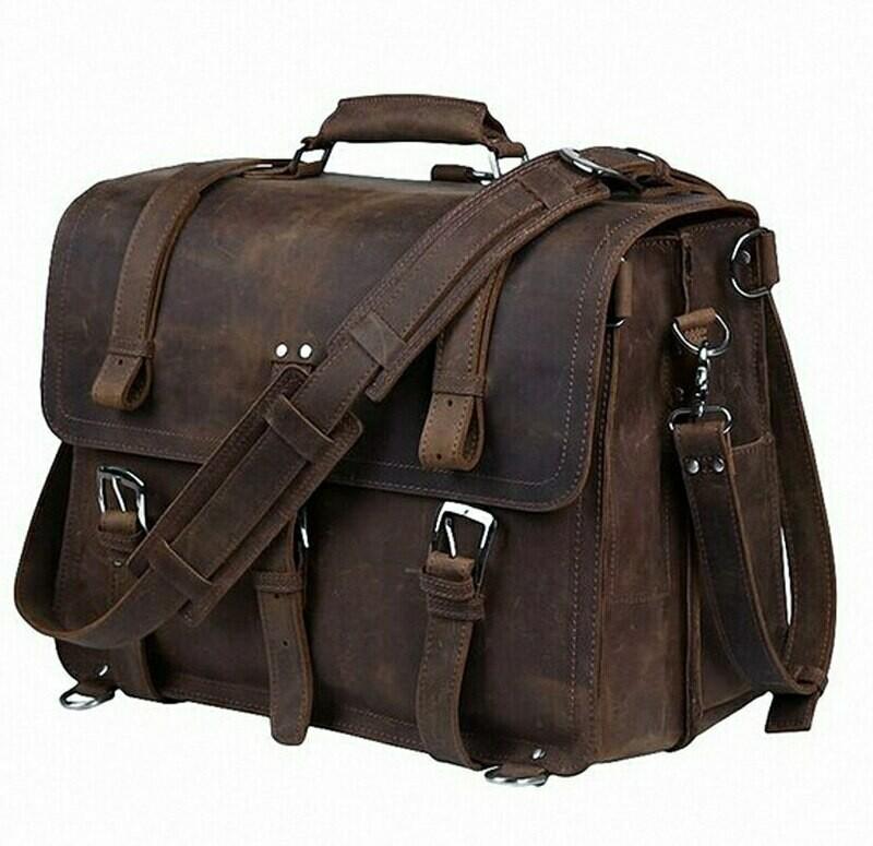 Briefcase Laptop-Case Business-Bag Vintage Genuine-Leather Crazy-Horse Large Men M086-