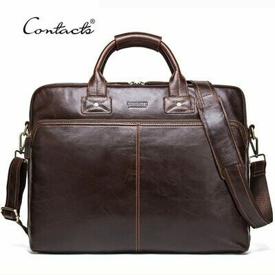 Men Briefcases Laptop-Bag Messenger-Bags CONTACT'S Genuine-Leather Totes Large-Capacity