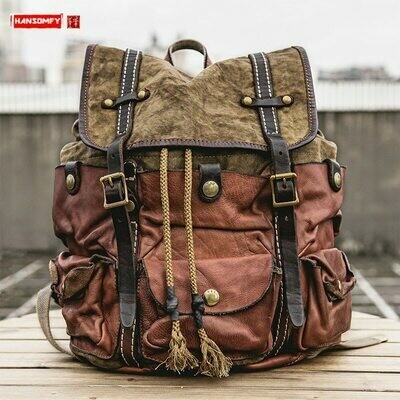 Travel Backpacks Military Handmade Retro Computer-Bag Fight Male Canvas Men Old Cowhide