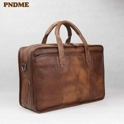 Men's Briefcase Laptop-Shoulder-Bags Vintage Business Cowhide Travel Large-Capacity Genuine-Leather