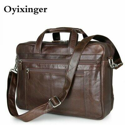 Men's Briefcase Genuine Leather Handbags Bag For Documents Men Business Portfolio Male
