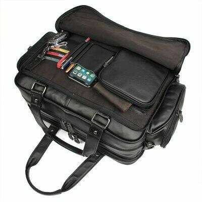 Men Briefcase Messenger-Bags Laptop Business-Travel-Bag Genuine-Leather Portfolio Large-Capacity
