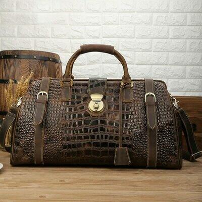 Travel-Bag Carry-On-Luggage Overnight Vintage Big-Capacity Genuine-Leather Mens Luufan