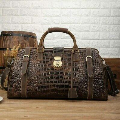 Handbag Travel-Bag MAHEU Luxury-Design Shoulder-Strap Crocodile-Leather Male Men