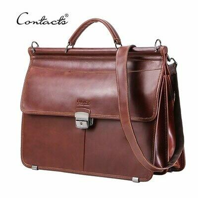 Laptop-Bag CONTACT'S Men Briefcase Shoulder-Bags Messenger Business Male Genuine-Leather