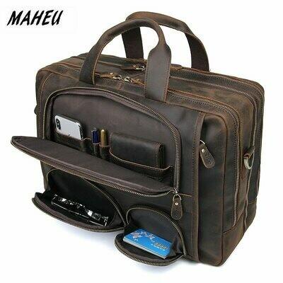 Mens Briefcase Laptop-Bags Crazy-Horse Vintage MAHEU Pockets-Cowhide-Bag Business