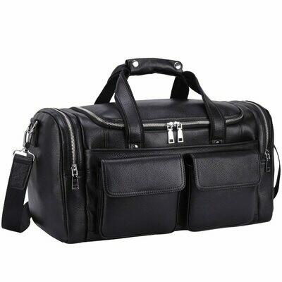Travel-Bag Black MAHEU Genuine-Leather Handbags Laptop-Shoulder-Bag Weeked Fashion Soft